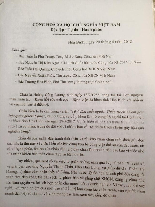 Bác sĩ Hoàng Công Lương gửi tâm thư tới Tổng Bí thư