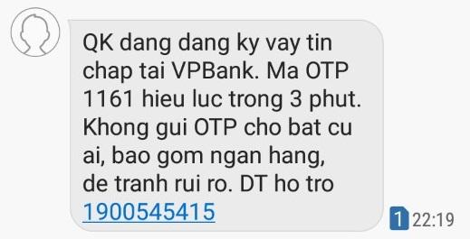 Tin nhắn gửi mã OTP tới điện thoại của bạn