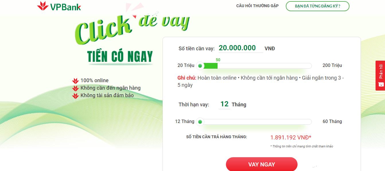 Vay tiền online vpbank