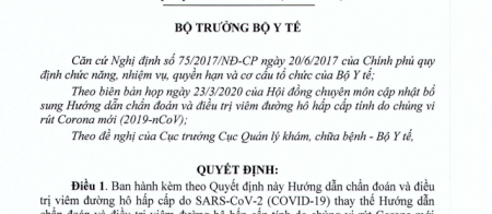 Phác đồ điều trị covid-19